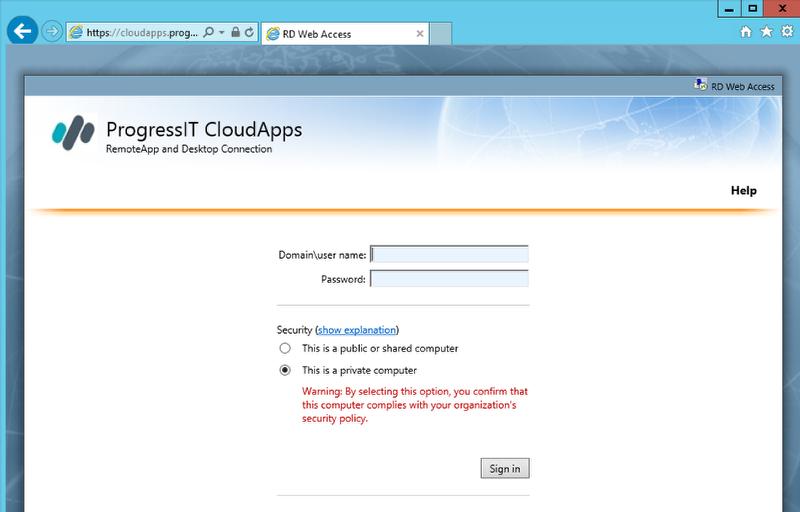 Go to cloudapps.progressit.com.au