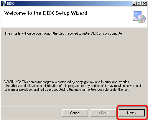 DDX Set-up Wizard - Click next