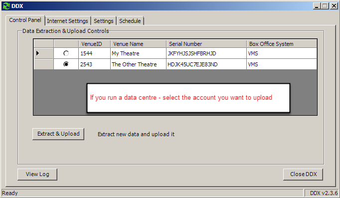 If you run a data centre and have multiple accounts simply select the account you want to upload