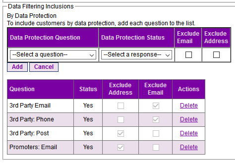 Step 3. Data Protection Filtering Inclusions (a)