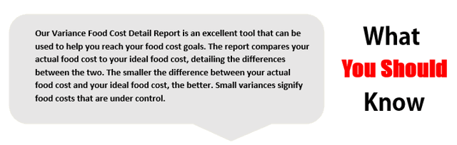 Variance Food Cost Detail Report