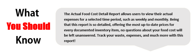 Actual Food Cost Detail Report
