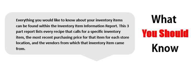 Inventory Item Information Report