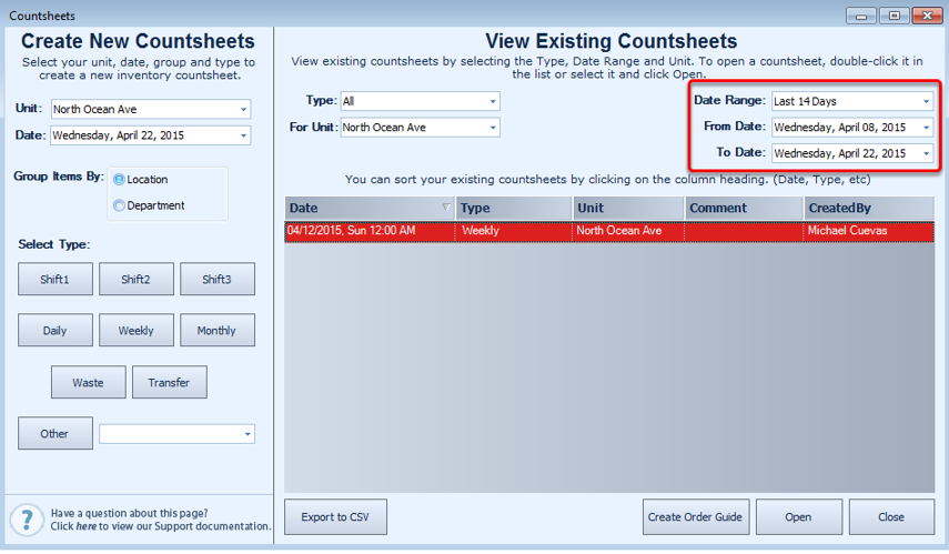 I can't find an old countsheet that was entered in QSROnline. What can I do to find it?