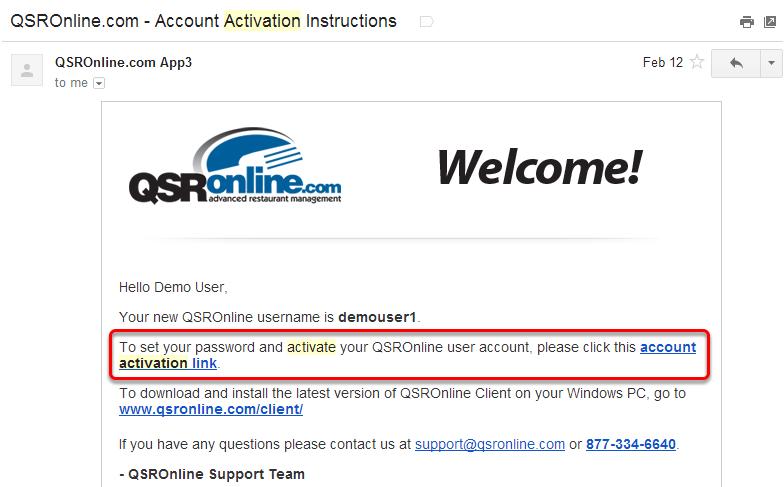 User Set Up: Activation Email