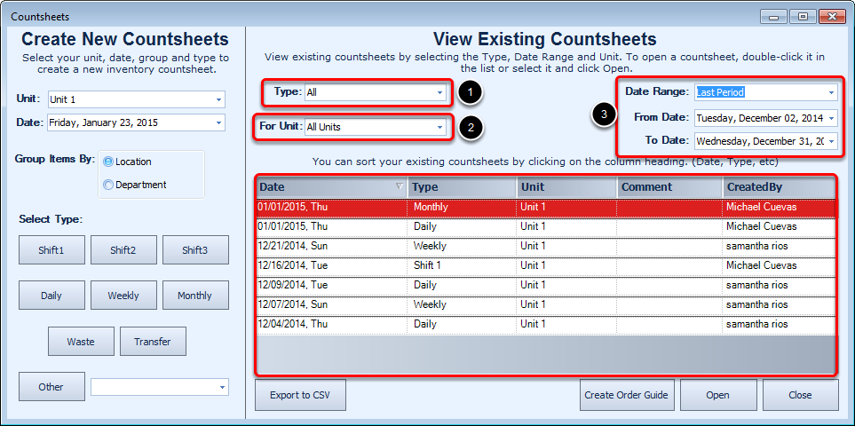 Viewing Existing Countsheets