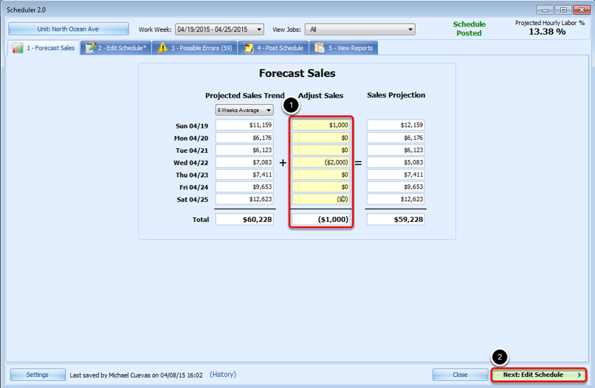 Adjusting Sales