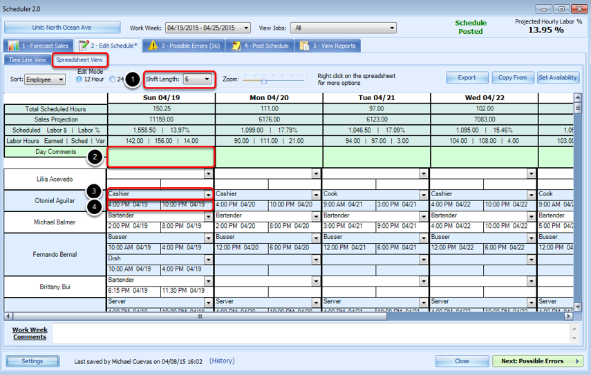 Creating a Schedule in Spreadsheet View