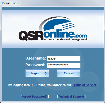 Log into the QSROnline Client