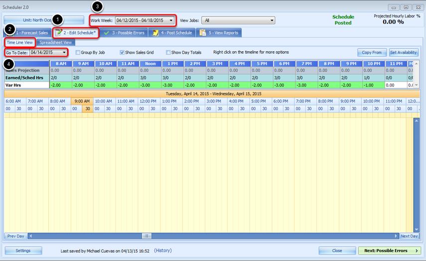 Edit Schedule Tab