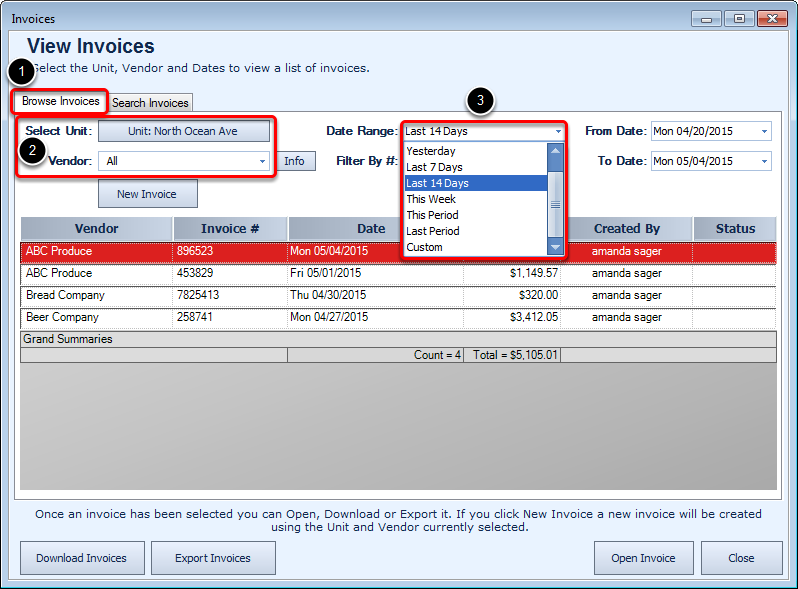 Browse Invoices tab