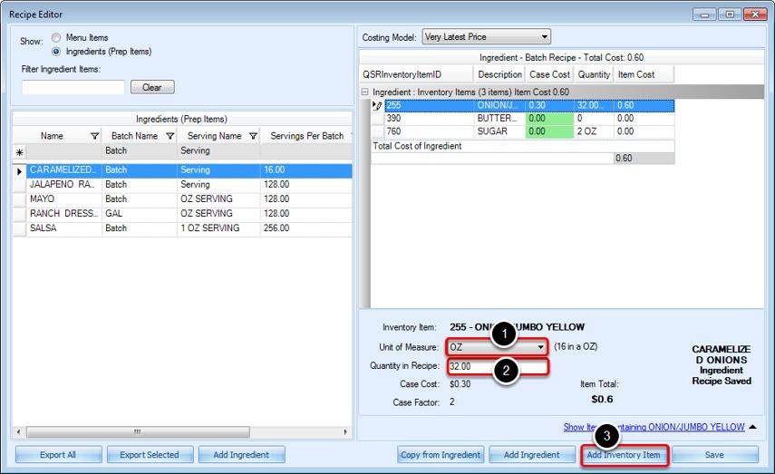 Editing Inventory Item Quantity in Recipe Editor