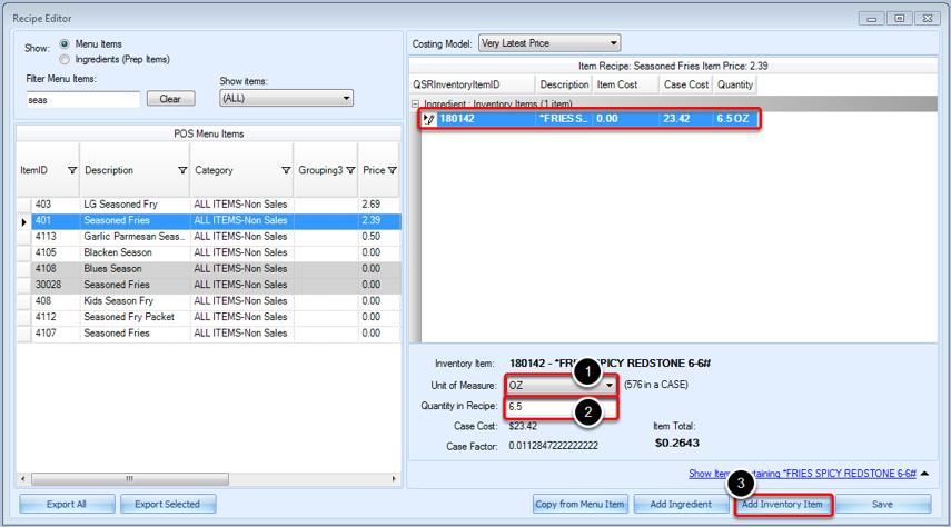 Editing Inventory Item Quantity in Menu Item Recipe