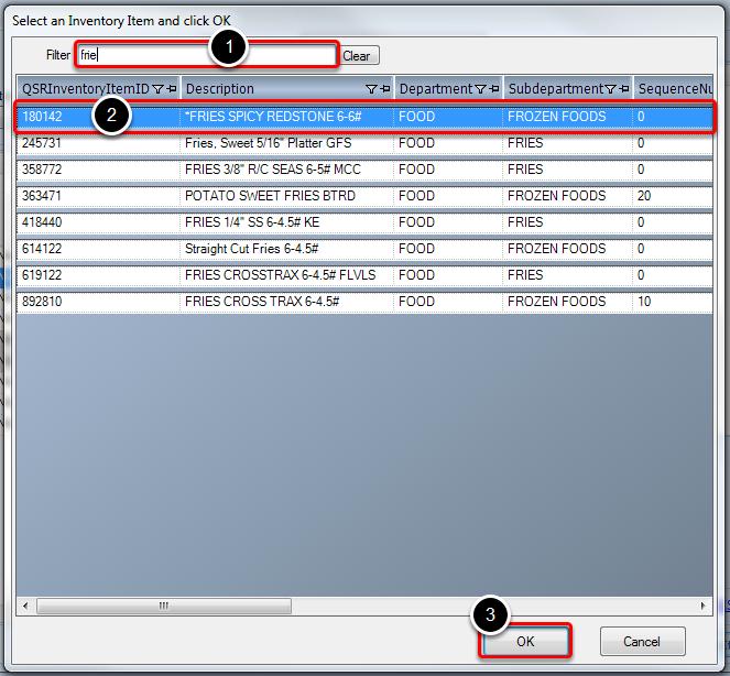 Adding Inventory Items to Menu Item Recipe