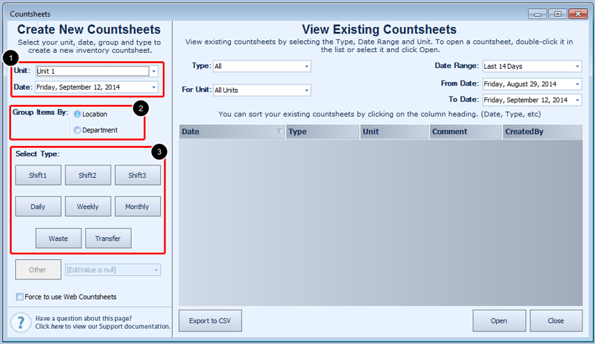 Creating a Countsheet
