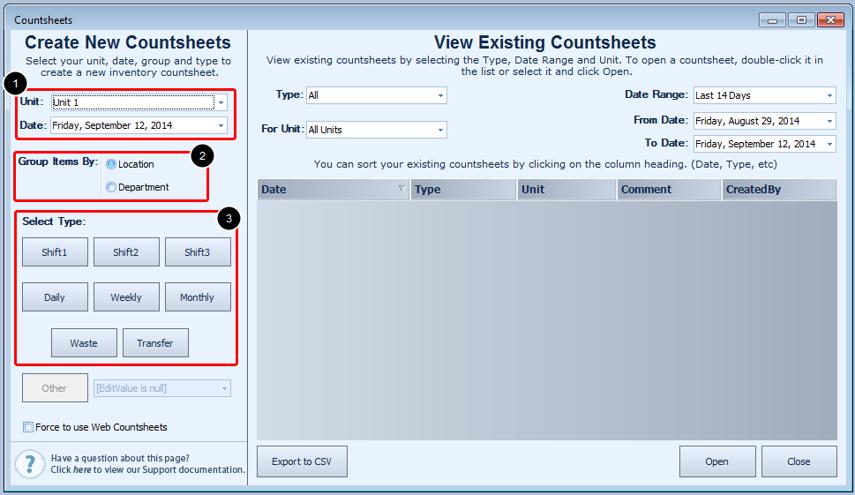 Creating a Countsheet