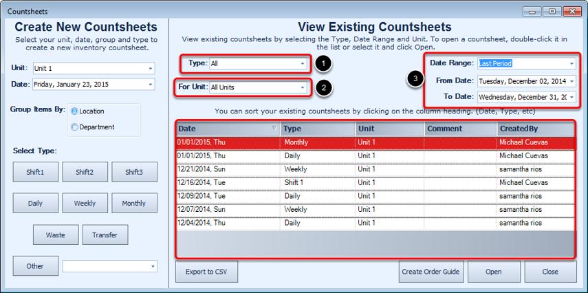 Viewing Existing Countsheets