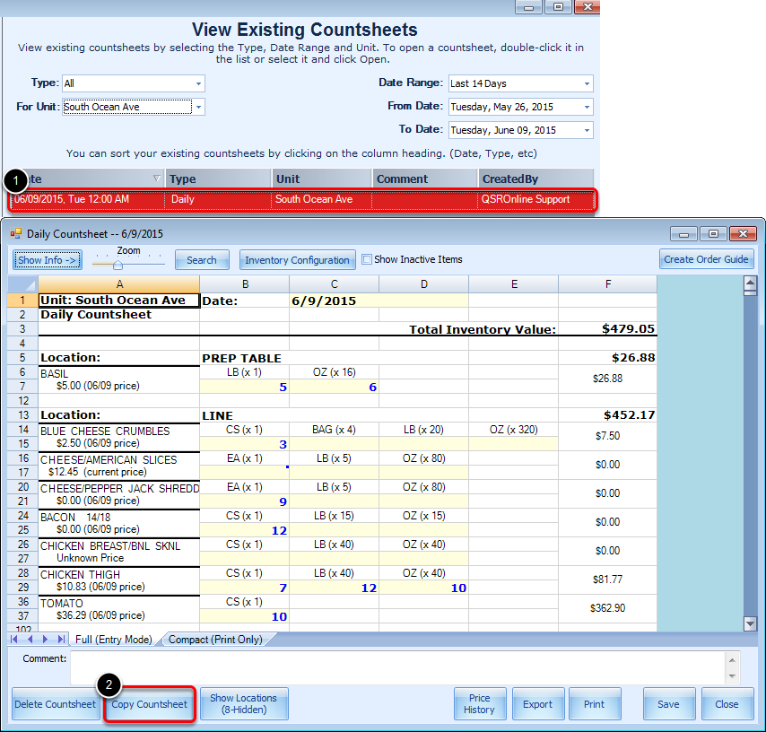 Copying an Existing Countsheet