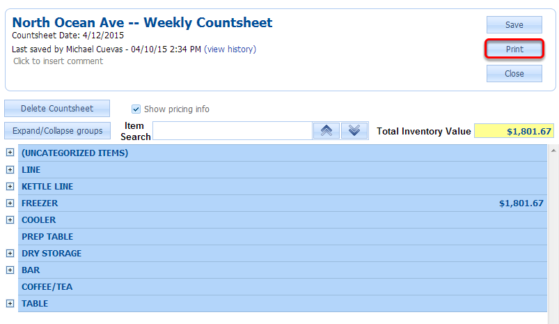 Printing a Countsheet