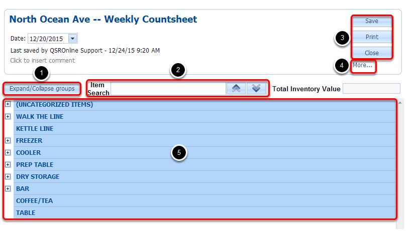 Countsheet Features