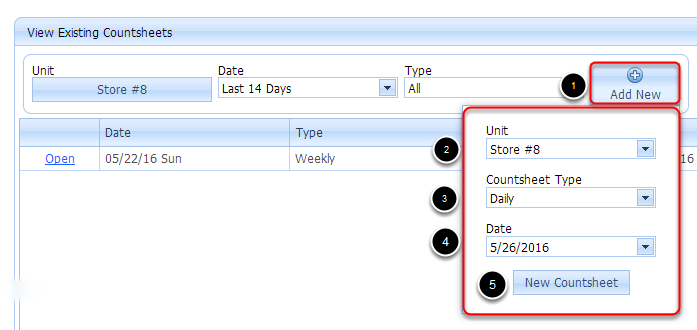 Selecting Countsheet Type