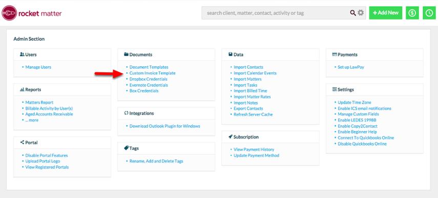 2. Click 'Custom invoice Template'.