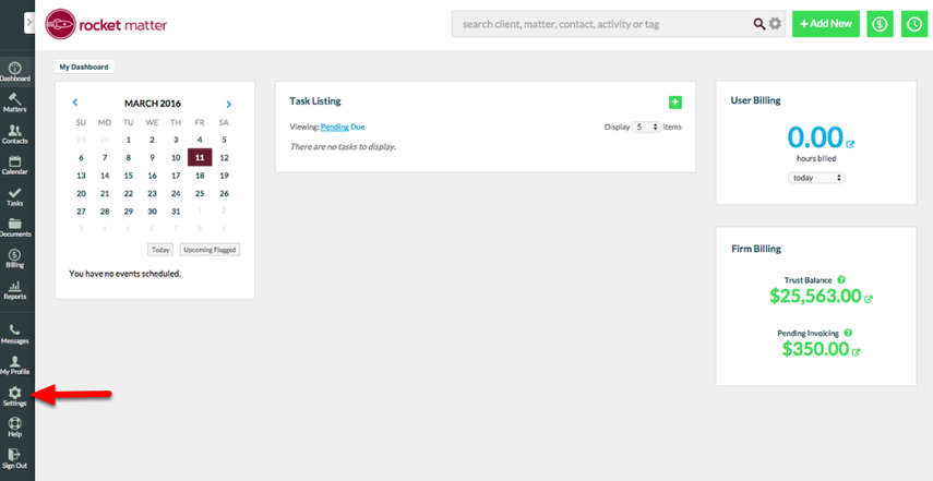 "1.  From the Dashboard, click ""Settings""."