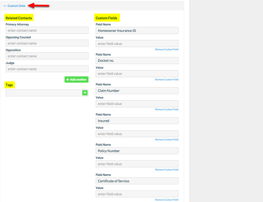 """6. Select """" + Custom Data"""" to add Related Contacts, Custom Fields, and Tag data."""