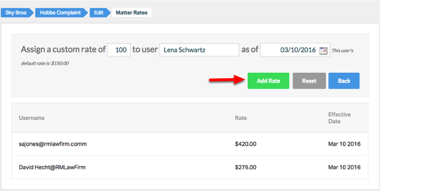 4. If multiple timekeepers are billing on the custom-rate matter, apply a custom rate for each timekeeper.
