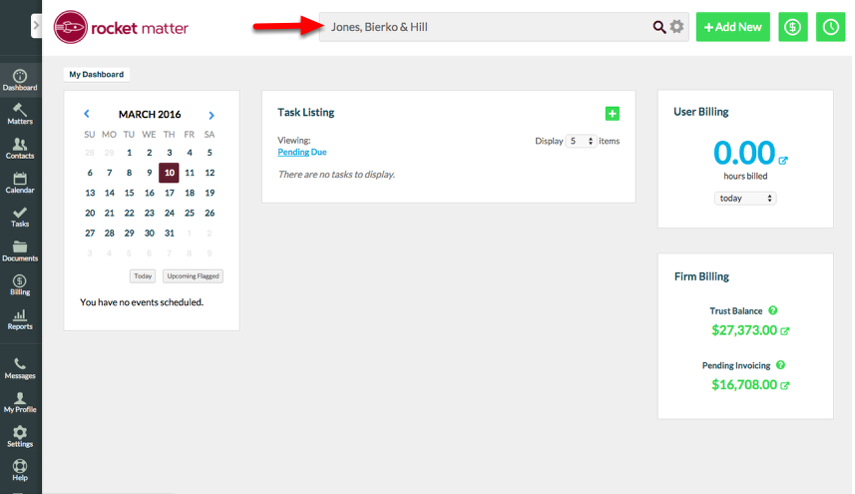 1. Navigate to your Firm's contact record from 'Global Search' or 'Contacts'.