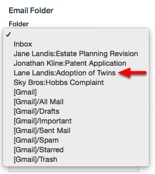 3.  Select Email Folder.