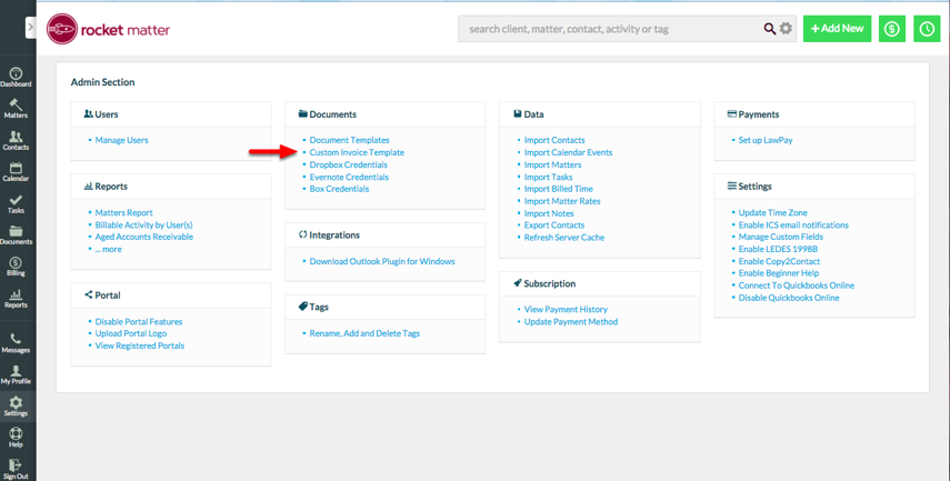 """1. Select """"Custom Invoice Template"""" from your Admin Section."""