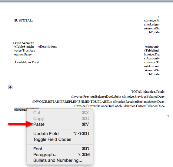 """9. Switch to your Invoice Template in Word, and """"Paste"""" the merge field to your desired location."""