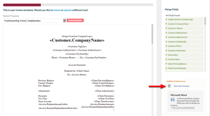 """4. Download the 'Invoice Template Cheat Sheet' by clicking """"See a list of Available Fields""""."""
