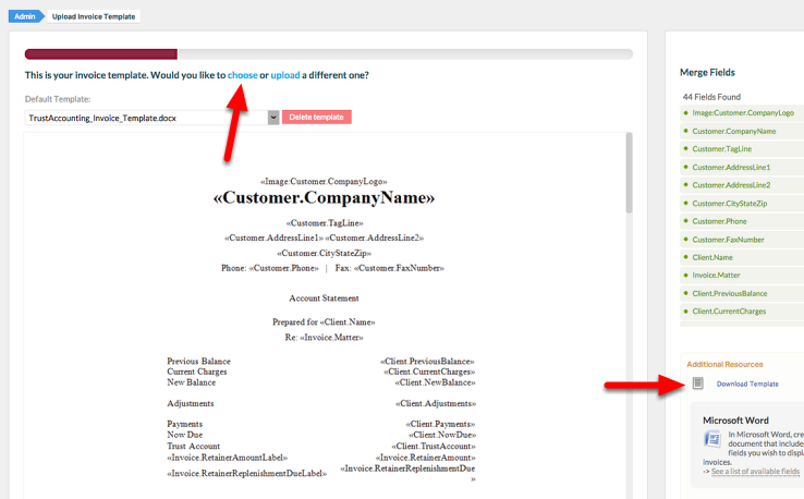 """2. Download the Invoice Template you want to work on. You can """"choose"""" a pre-formatted template, or you can """"download"""" your current template."""