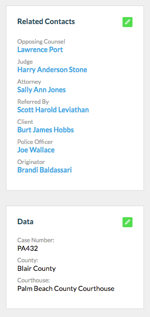 7.  View custom fields and data in 'Related Contacts' and 'Data'.
