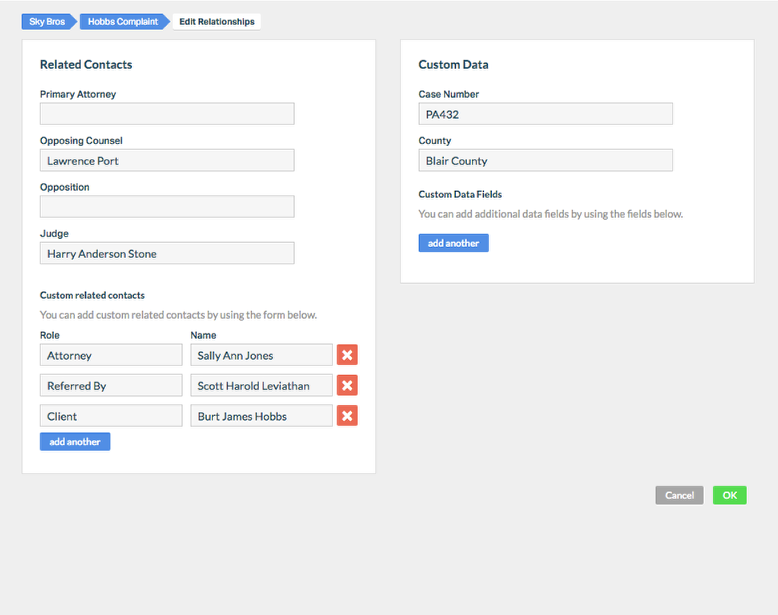 3. Determine whether you would like to add a 'Custom Related Contact' field, or a 'Custom Data' field.
