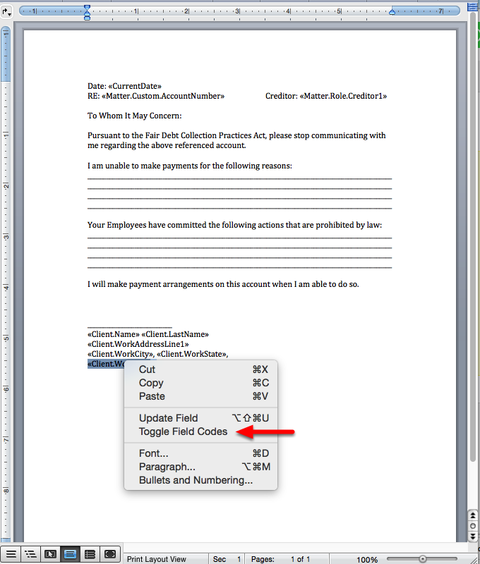 7. Edit the mergefield by highlighting it, and right-clicking on it. Apply formatting as needed.