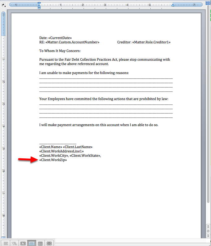 6. Paste the mergefield into your Word document.