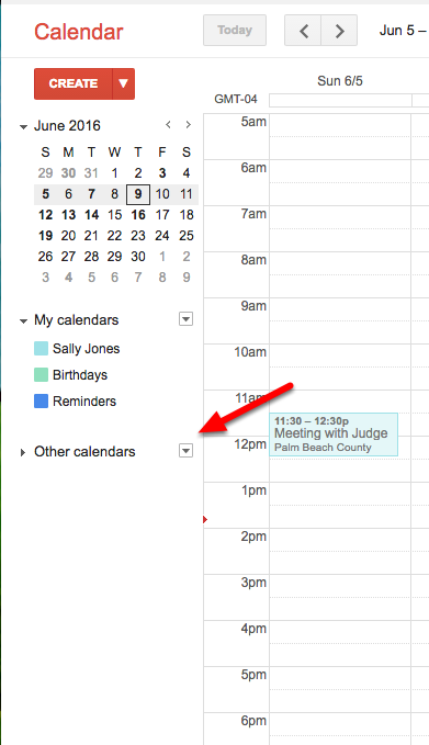 c. Click on the 'carat' next to Other Calendars.