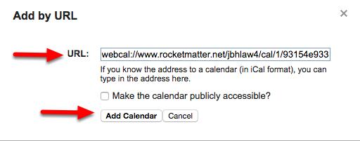"""e. Paste the .ics calendar link, and click """"Add Calendar""""."""