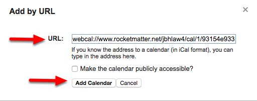 "e.  Paste the .ics calendar link, and click ""Add Calendar""."