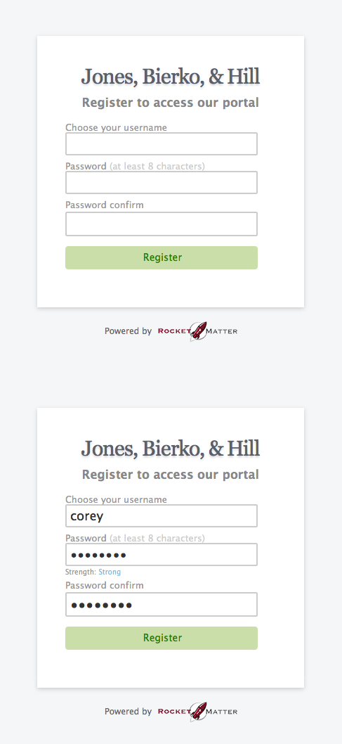 5. Client fills out Registration page.
