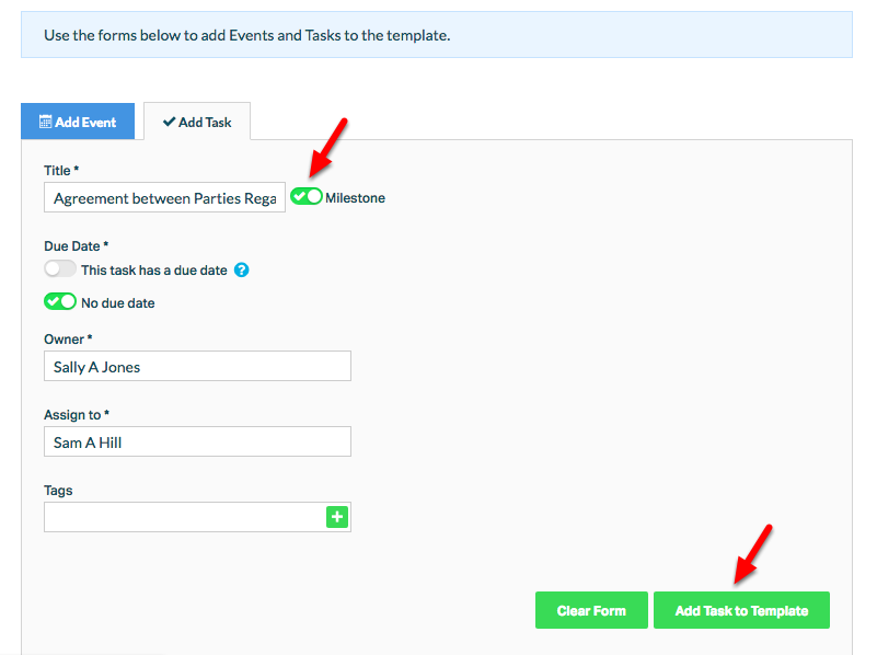 """9. Mark the task or event as a """"Milestone"""" to allow the linking of other tasks and events to the activity."""