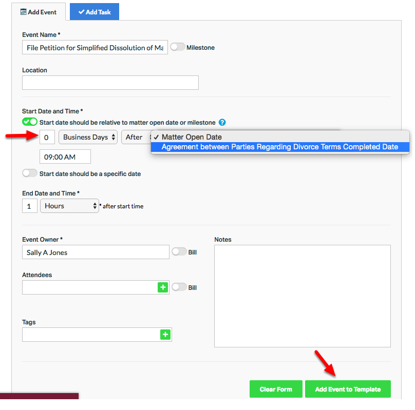 """11. Link an activity by specifying """"Start date should be relative to matter open date or milestone"""""""