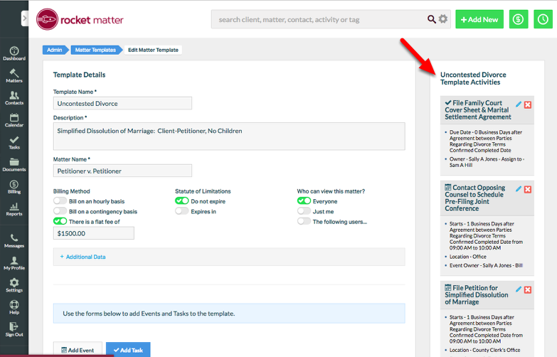 1. Navigate to the Edit Matter Template screen, and view the Template Activities.