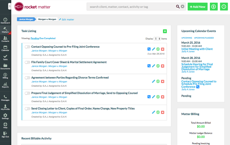 9. Review the Matter Dashboard for your new matter's Tasks, Events, and related Contacts and Data.