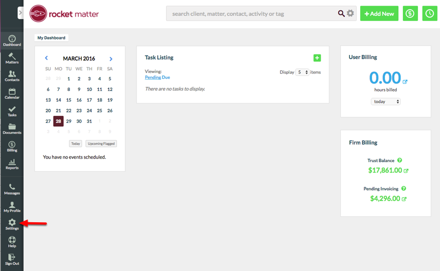 1. Navigate to Admin Section.