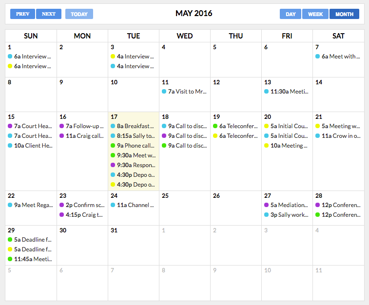 "5.  ""View All Events"" in Month view:"