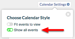 "3.  Choose ""Show all events"", and close dialog box by clicking ""x""."